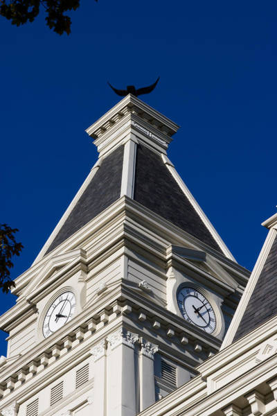 Photograph - Clarksville Historic Courthouse Clock Tower by Ed Gleichman