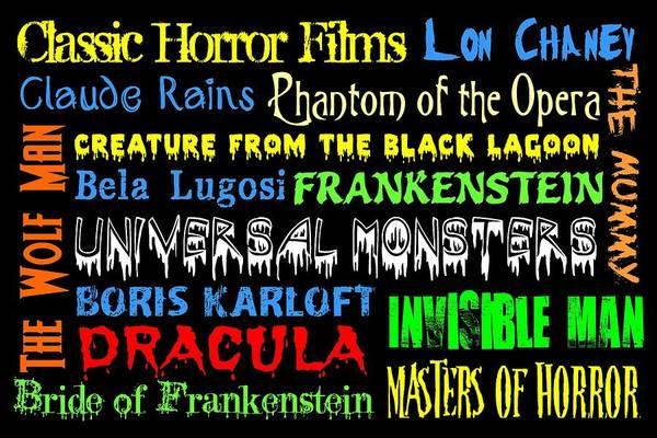 Lagoon Digital Art - Classic Horror Films by Jaime Friedman