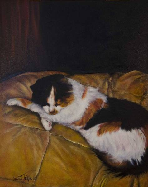 Painting - Cleo On The Blanket by Laurie Tietjen