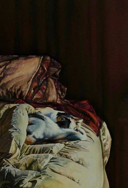 Painting - Cleo Sleeping On The Bed by Laurie Tietjen