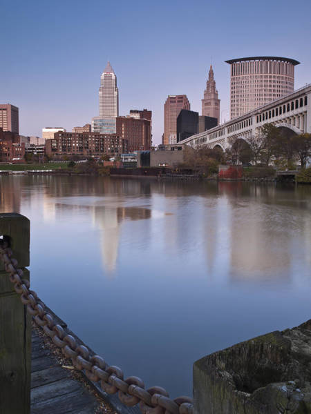Photograph - Cleveland From The River - Portrait by At Lands End Photography
