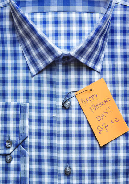 Close-up Of Shirt With Happy Father's Day Tag Art Print