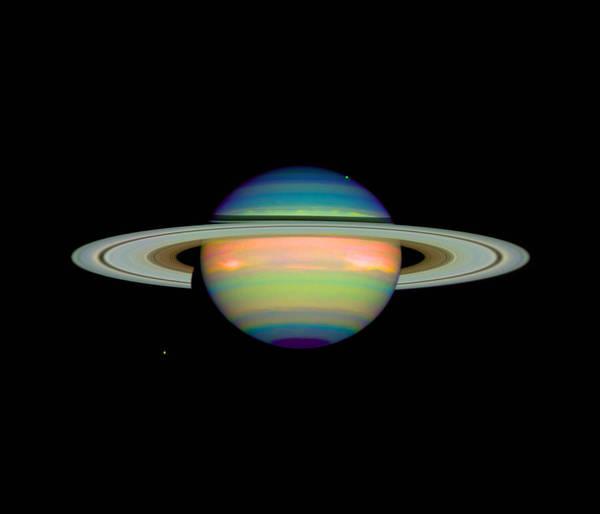 Dione Photograph - Cloud Cover On Saturn by Nasaesastscie.karkoschka, U.arizona