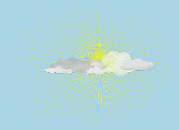 Horizontal Digital Art - Clouds In Front Of The Sun by Jutta Kuss