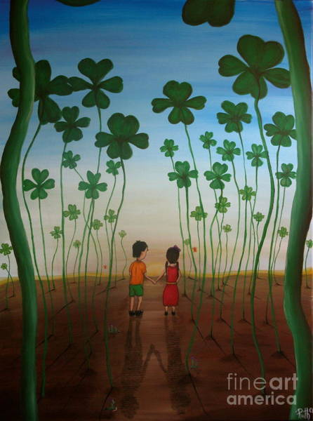 Lucky Clover Painting - Clover Field by Ruth Oosterman