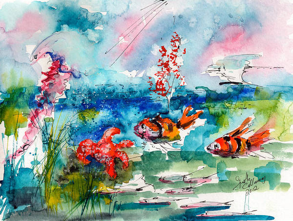 Clownfish Painting - Clown Fish Deep Sea Watercolor by Ginette Callaway