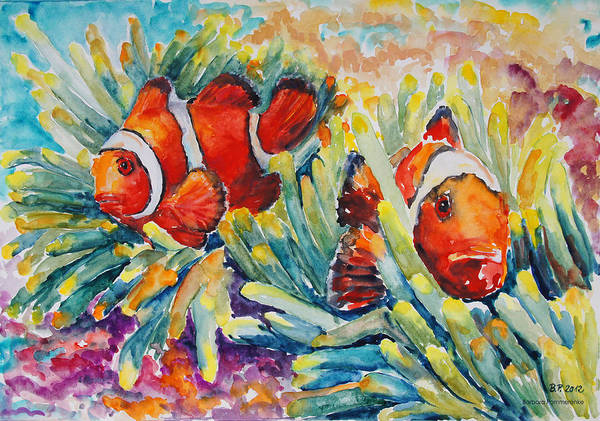 Clownfish Painting - Clownfish In Their Paradise by Barbara Pommerenke