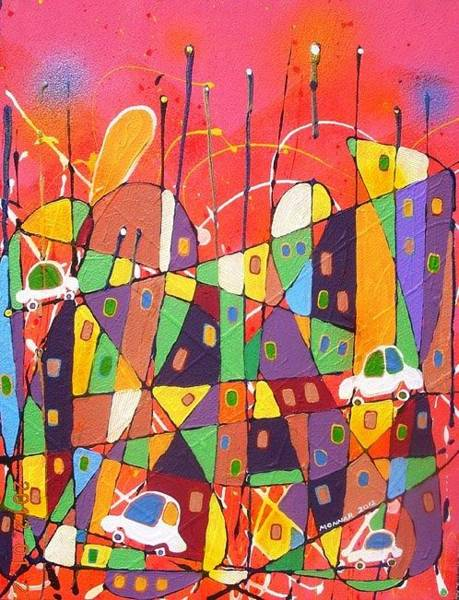 Wall Art - Mixed Media - Clusters by Monnar Baldemor