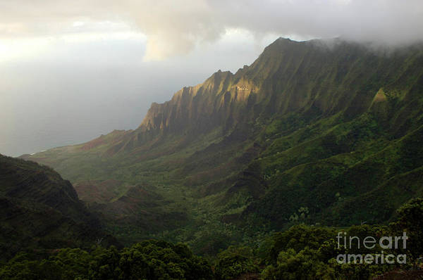 Surfboard Fence Photograph - Coastal Mountains Kauai by Bob Christopher