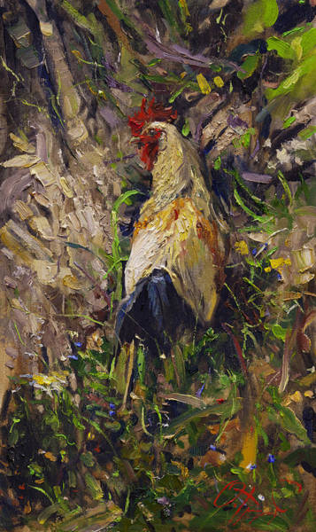Russian Impressionism Wall Art - Painting - Cockerel by Oleg Trofimoff