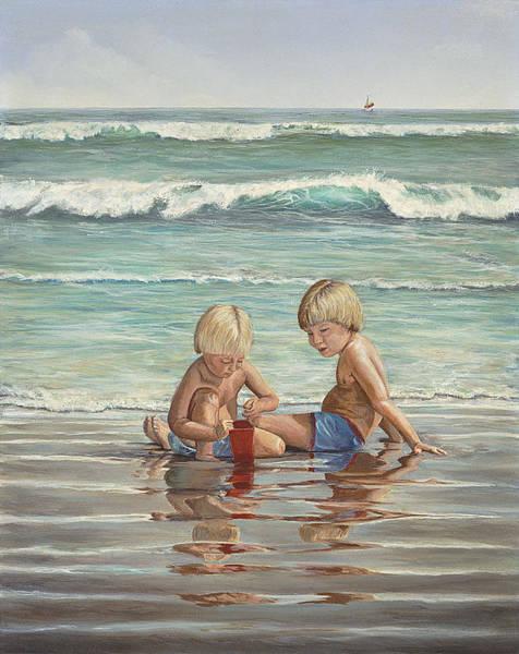 Painting - Cocoa Beach Sandcastles by AnnaJo Vahle