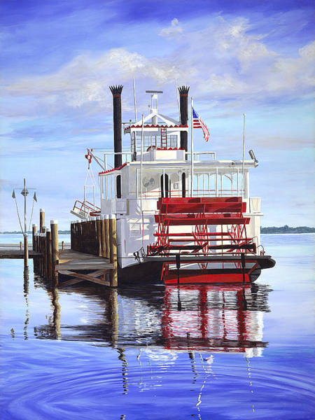 Riverboat Painting - Cocoa Belle At Dock by AnnaJo Vahle