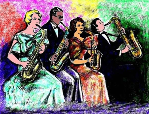 Sax Drawing - Coed Sax Section by Mel Thompson