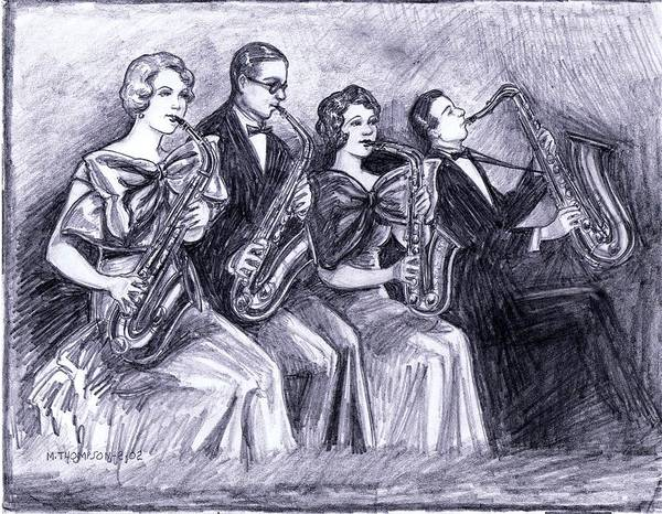 Sax Drawing - Coed Saxophones by Mel Thompson