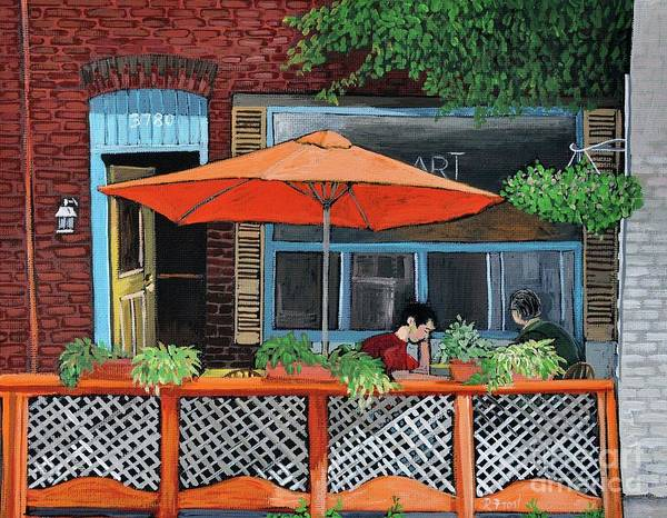 Montreal Street Scene Painting - Coffee At Nu Art Cafe Verdun by Reb Frost