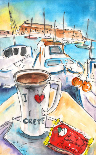 Painting - Coffee Break In Heraklion In Crete by Miki De Goodaboom