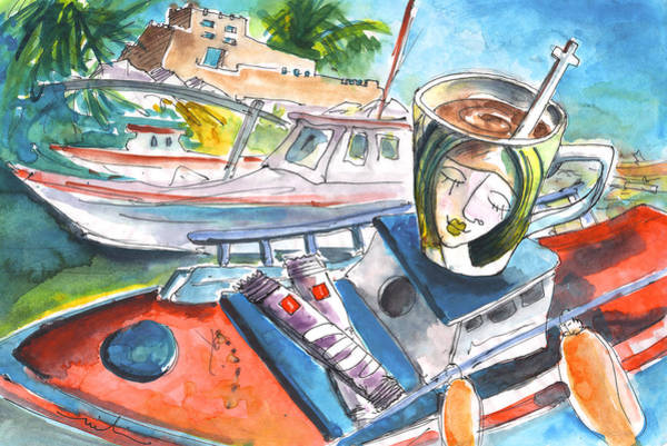 Painting - Coffee Break In Sitia In Crete by Miki De Goodaboom