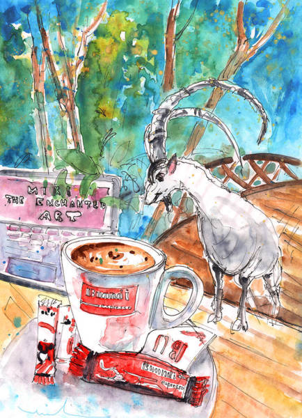 Painting - Coffee Break In Vrisses In Crete by Miki De Goodaboom