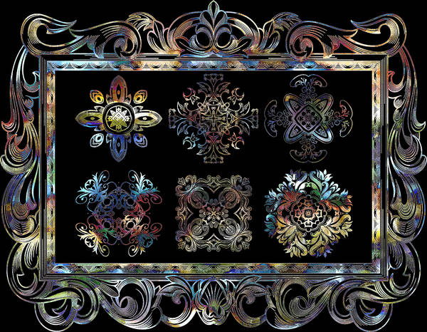 Cosmology Digital Art - Coffee Flowers Ornate Medallions 6 Piece Collage Aurora Borealis by Angelina Tamez