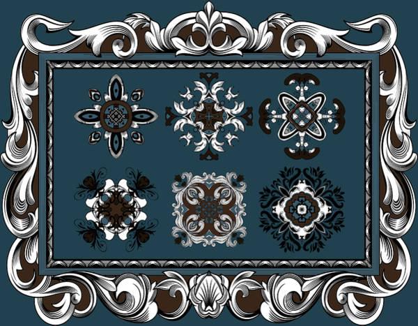 Cosmology Digital Art - Coffee Flowers Ornate Medallions 6 Piece Collage Mediterranean by Angelina Tamez