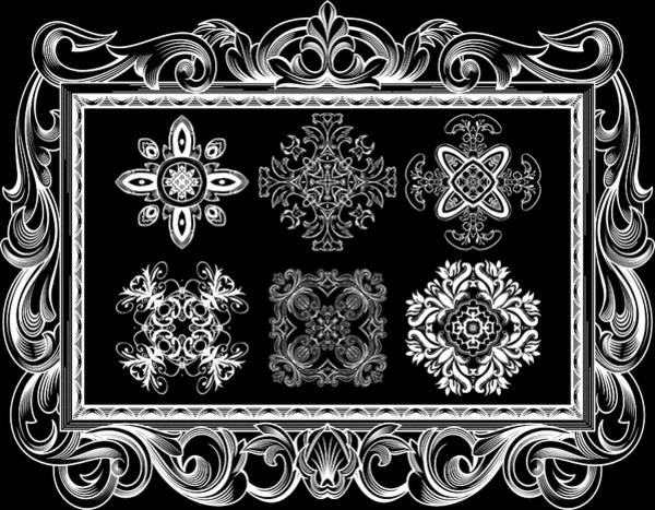 Cosmology Digital Art - Coffee Flowers Ornate Medallions Bw 6 Piece Collage Framed  by Angelina Tamez