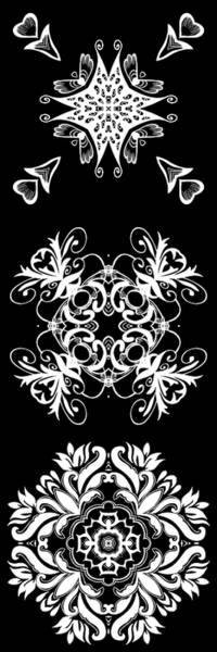 Digital Art - Coffee Flowers Ornate Medallions Bw Vertical Tryptych 2 by Angelina Tamez