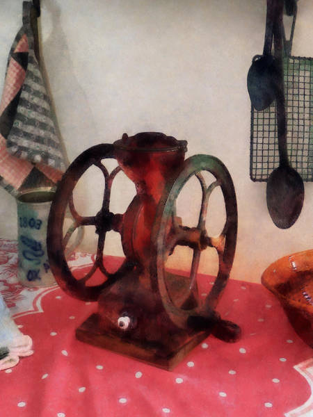 Photograph - Coffee Grinder On Red Tablecloth by Susan Savad