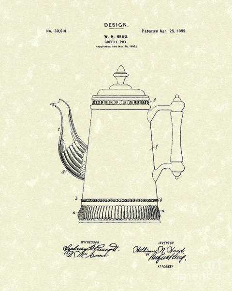 Coffee Drawing - Coffee Pot Design 1899 Patent Art by Prior Art Design