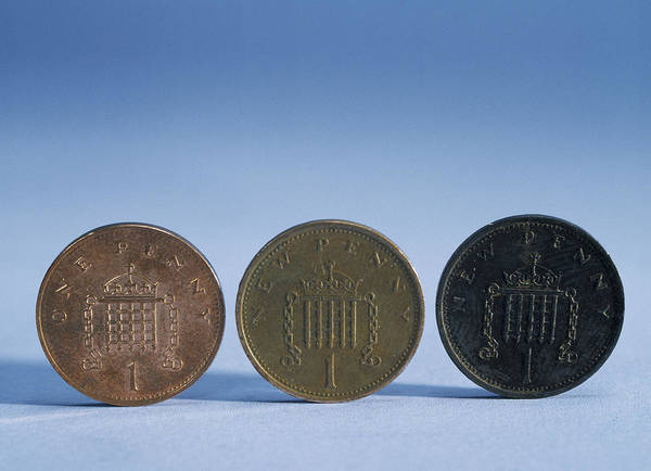 Oxidised Photograph - Coins Of Various Ages by Andrew Lambert Photography