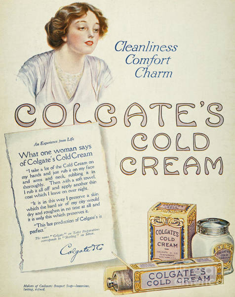 Colgate Wall Art - Photograph - Cold Cream Ad, 1913 by Granger