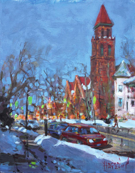 Wall Art - Painting - Cold Morning In Elmwood Ave  by Ylli Haruni