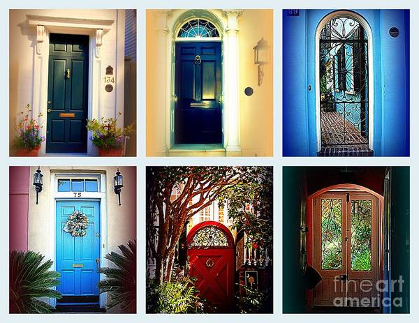 Wall Art - Photograph - Collage Of Charleston Doors by Susanne Van Hulst