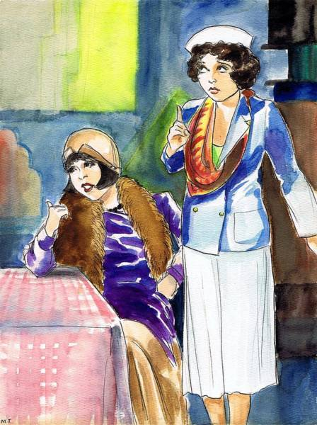 Flappers Drawing - Colleen And Helen by Mel Thompson