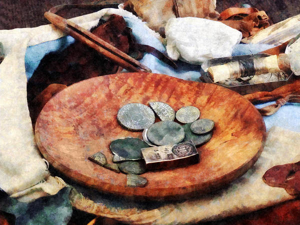 Bookkeeper Photograph - Colonial Coins by Susan Savad