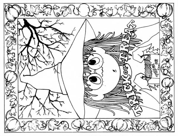 Trick Or Treat Drawing - Color Me Card - Halloween by Sher Sester