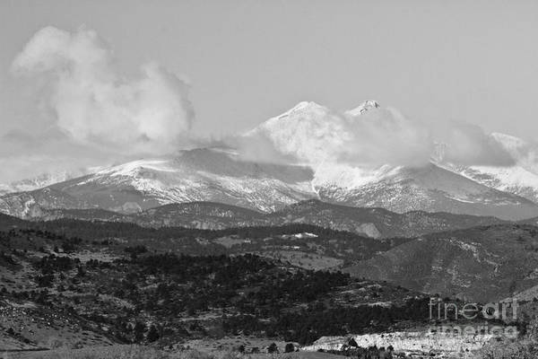 Montain Photograph - Colorado Longs Peak Circling Clouds  Bw by James BO Insogna