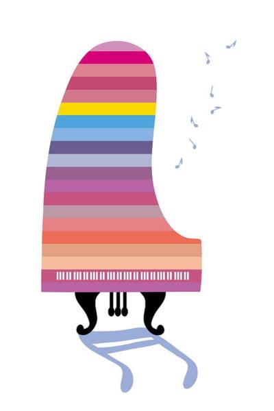 Grand Piano Digital Art - Colorful Grand Piano Playing Music by Meg Takamura