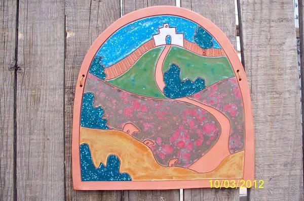 Wall Art - Ceramic Art - Colorful Hills by Esta Bain