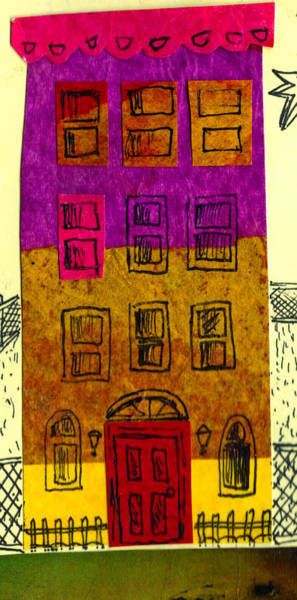 Neighborhood Mixed Media - Colorful Rowhouse by Nancy Mitchell