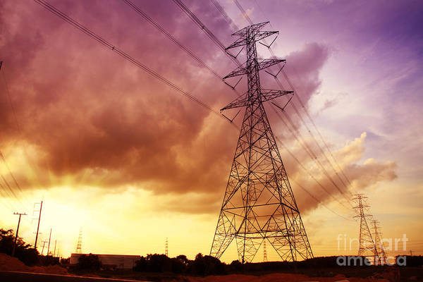 Isolator Wall Art - Photograph - Colorful Sunset Of Energy And Power. by Suwit Ritjaroon