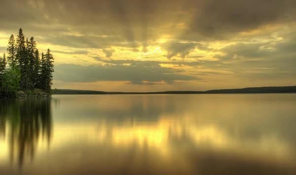 Waskesiu Photograph - Colourful Sunrise On Waskesiu Lake In by Philippe Widling