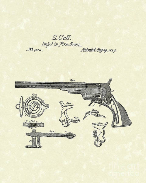 Antique Firearms Wall Art - Drawing - Colt Firearms 1839 Patent Art by Prior Art Design