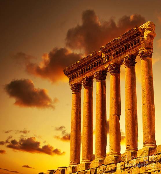 Roman Fort Photograph - Column Ruins  by Anna Om