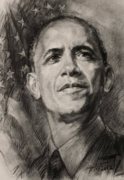 Barack Obama Wall Art - Drawing - Commander-in-chief by Ylli Haruni