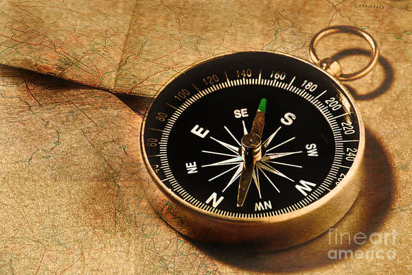 Road Map Photograph - Compass by HD Connelly