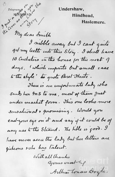Conan Photograph - Conan Doyle: Letter by Granger