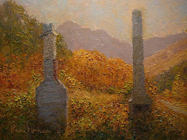 Nz.impressionist Painting - Concrete Tombstones by Terry Perham