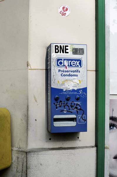 Street Machine Photograph - Condom Dispenser by Martin Bond