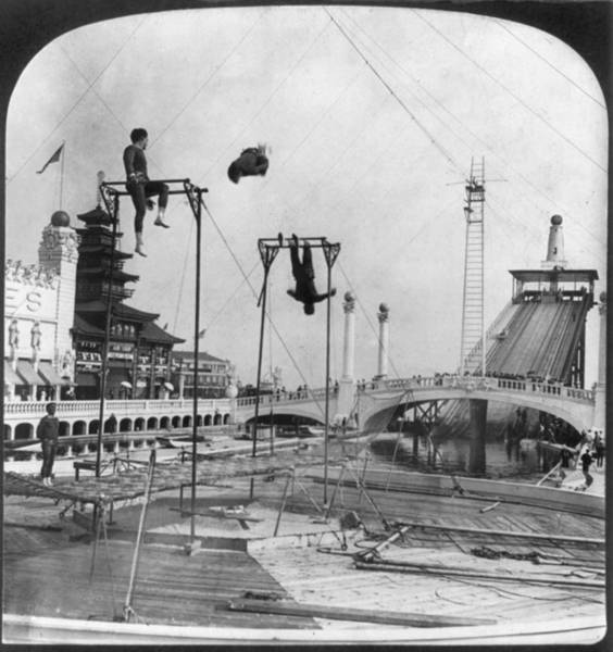 Trapeze Photograph - Coney Island, Trapeze Performers by Everett