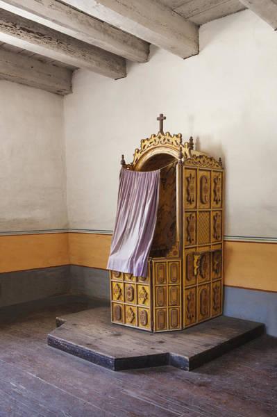 La Purisima Mission Photograph - Confessional Booth In Sanctuary At by Douglas Orton